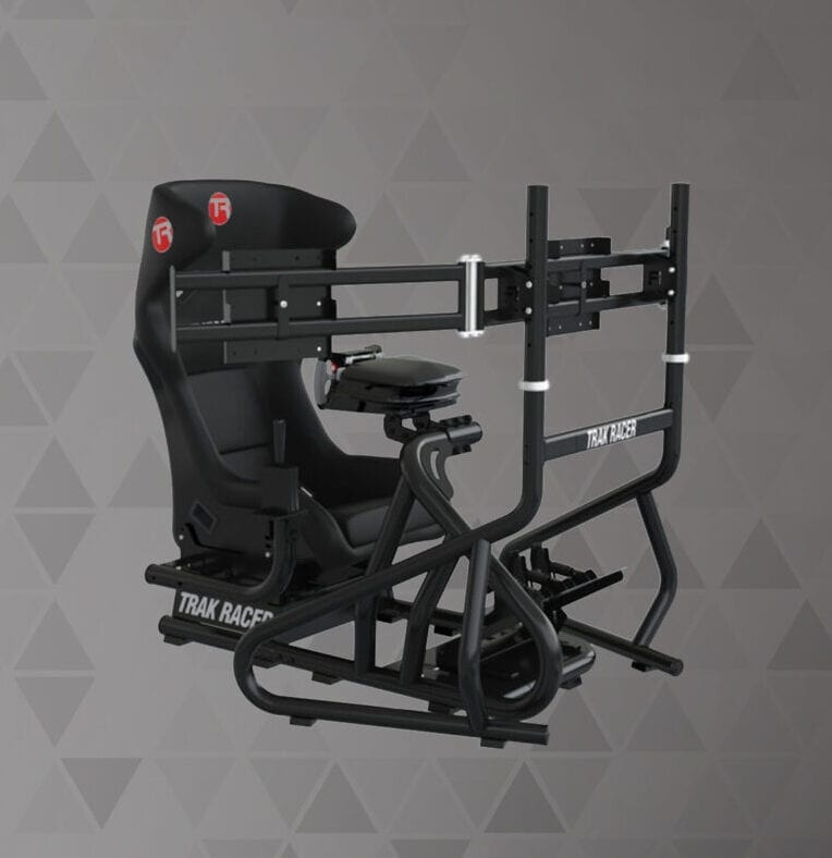 BUNDLE Trak Racer RS6 MACH 3 Black Racing Simulator and Triple 34-45″ Monitor Stand
